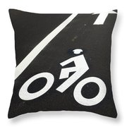 Bicycle Lane Throw Pillow by Olivier Le Queinec
