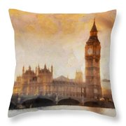 Big Ben at dusk Throw Pillow by Pixel Chimp