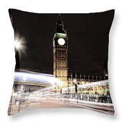 Big Ben With Light Trails Throw Pillow by Jasna Buncic