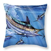 Big Blue And Tuna Throw Pillow by Terry Fox