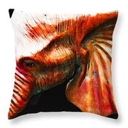 Big Red - Elephant Art Painting Throw Pillow by Sharon Cummings