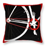 Bike In Black White And Red No 2 Throw Pillow by Ben and Raisa Gertsberg