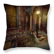 Bike - NY - Greenwich Village - In the village  Throw Pillow by Mike Savad