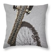 Biking In The Rain Throw Pillow by Karol  Livote