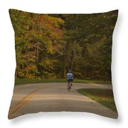 Biking In The Smoky Mountains Throw Pillow by Dan Sproul