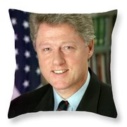 Bill Clinton Throw Pillow by Georgia Fowler