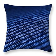 Binary code on pixellated screen Throw Pillow by Johan Swanepoel