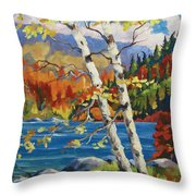 Birches By The Lake Throw Pillow by Richard T Pranke