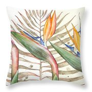 Bird Of Paradise 05 Elena Yakubovich Throw Pillow by Elena Yakubovich