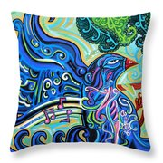 Bird Song 2 Throw Pillow by Genevieve Esson