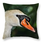 Bird - Swan - Mute Swan Close Up Throw Pillow by Paul Ward