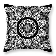 Black And White Medallion 10 Throw Pillow by Angelina Vick
