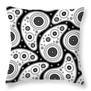 Black And White Paisley Throw Pillow by Frank Tschakert