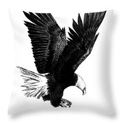 Black And White With Pen And Ink Drawing Of American Bald Eagle  Throw Pillow by Mario Perez