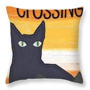 Black Cat Crossing Throw Pillow by Linda Woods
