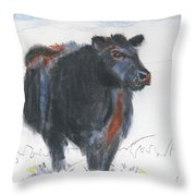 Black Cow Drawing Throw Pillow by Mike Jory