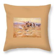 Black Feet Burning The Buffalo Range Throw Pillow by Charles Russell