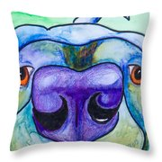 Black Lab Throw Pillow by Roger Wedegis