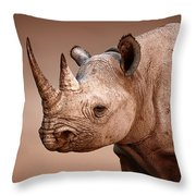 Black Rhinoceros Portrait Throw Pillow by Johan Swanepoel