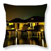 Black Starry Night In Tropics 3 Throw Pillow by Jenny Rainbow