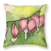 Bleeding Hearts Throw Pillow by Nora Blansett