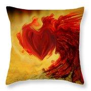 Blood Red Heart Throw Pillow by Linda Sannuti
