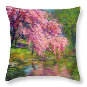 Blossoming Trees Landscape  Throw Pillow by Svetlana Novikova