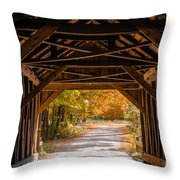 Blow-me-down Covered Bridge Cornish New Hampshire Throw Pillow by Edward Fielding