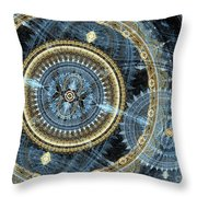 Blue and gold mechanical abstract Throw Pillow by Martin Capek