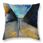 Blue Art Martini Throw Pillow by Michael Creese