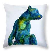 Blue Bear Throw Pillow by Derrick Higgins