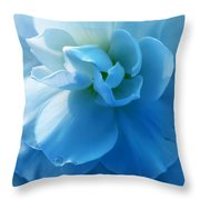 Blue Begonia Flower Throw Pillow by Jennie Marie Schell