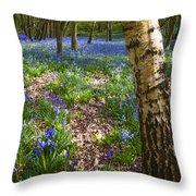 Blue Bells Path Throw Pillow by Svetlana Sewell