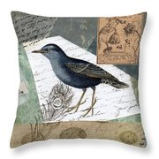 Blue Bird Study Throw Pillow by Tamyra Crossley