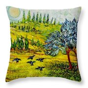 Blue Birds Throw Pillow by Gunter  Hortz