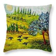 BLUE BIRDS Throw Pillow by Gunter  Hortz