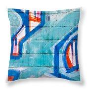 Blue Brick Graffiti Throw Pillow by Art Block Collections