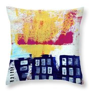 Blue Buildings Throw Pillow by Linda Woods