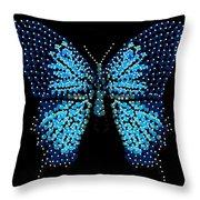 Blue Butterfly Black Background Throw Pillow by R  Allen Swezey