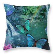 Blue Butterfly Dream Throw Pillow by Alixandra Mullins