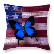 Blue Butterfly On American Flag Throw Pillow by Garry Gay
