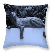 Blue Cat Throw Pillow by Rob Hans