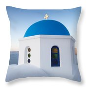 Blue domed church in Oia Santorini Greece Throw Pillow by Matteo Colombo