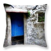 Blue Door  On Rustic House Throw Pillow by Lainie Wrightson
