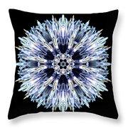 Blue Globe Thistle Flower Mandala Throw Pillow by David J Bookbinder