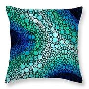 Blue Green Energy - Stone Rock'd Art Panting Throw Pillow by Sharon Cummings