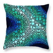Blue Green Energy - Stone Rock'd Art Panting Throw Pillow by Sharon Cummings