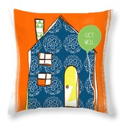 Blue House Get Well Card Throw Pillow by Linda Woods