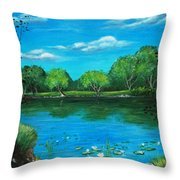 Blue Lake Throw Pillow by Anastasiya Malakhova