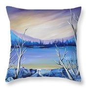 Blue Lake Throw Pillow by Beverly Livingstone